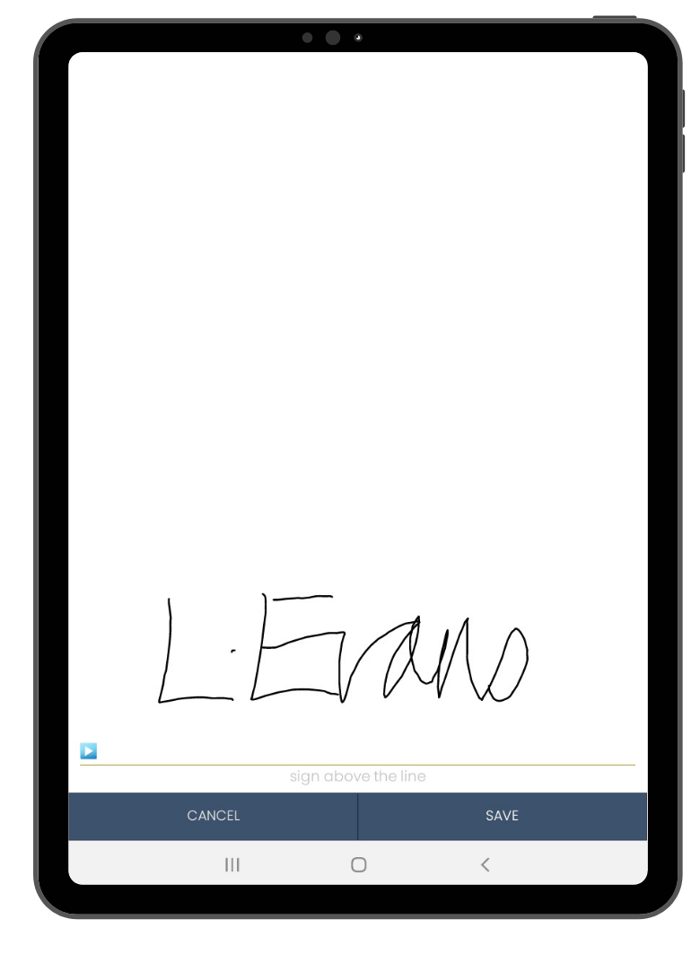 Electronic signature on mobile form